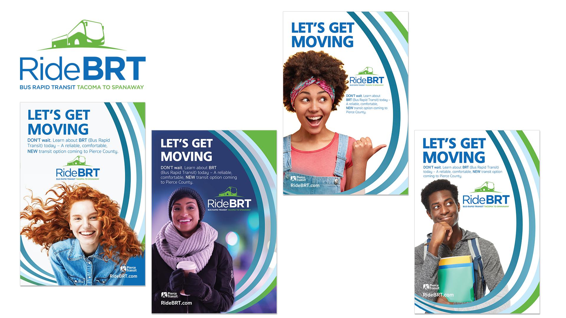 Pierce Transit BRT branding/creative campaign platform with colors, styles, messaging